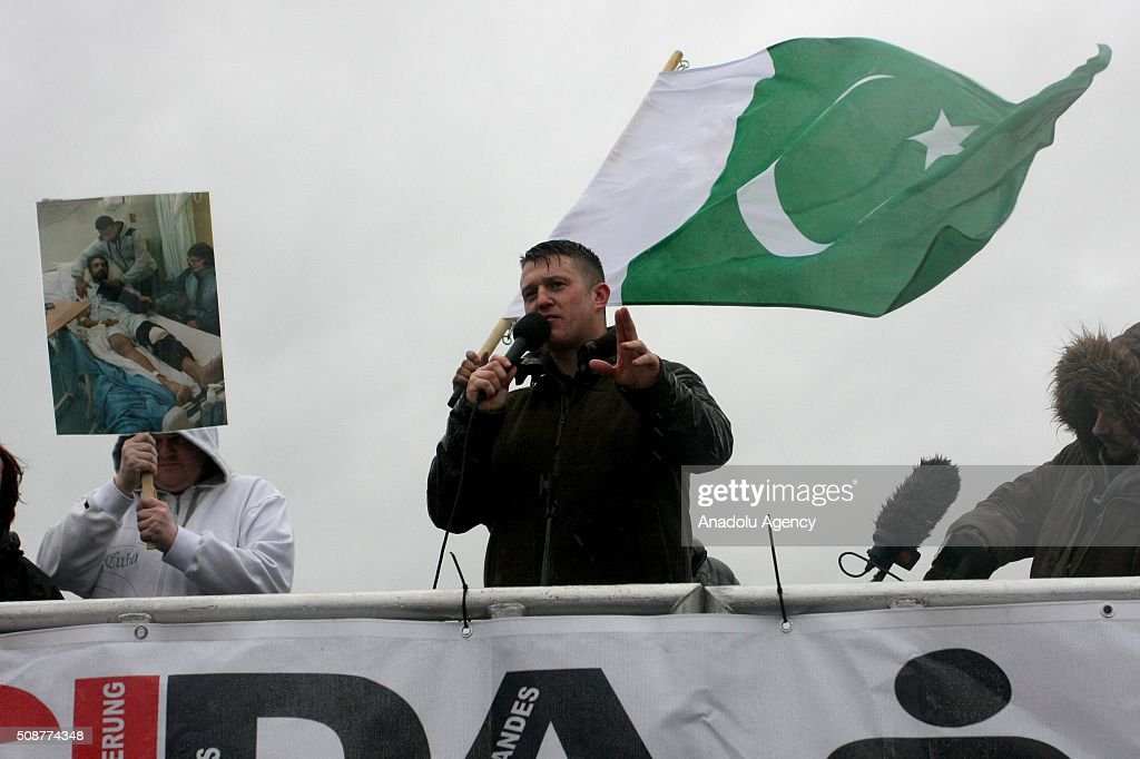Tommy Robinson, former founder of the English Defence League, addresses the crowd during the 'silent march' organized by Pegida (Patriotic Europeans against the Islamisation of the West) UK supporters in Birmingham, England on February 6, 2016.