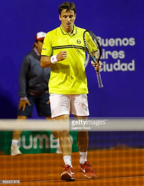 Tommy Robredo of Spain celebrates after wining a point during a first round match between Tommy Robredo of Spain and Fabio Fognini of Italy as part...
