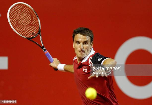 Tommy Robredo of Spain makes a shot during a tennis match between Tommy Robredo and Pablo Carreno Busta as part of ATP Buenos Aires Copa Claro on...