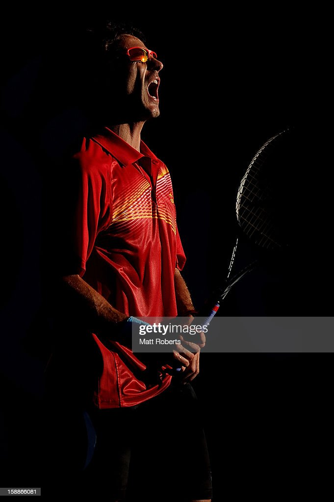 Tommy Robredo of Spain reacts during his match against Kei Nishikori of Japan on day four of the Brisbane International at Pat Rafter Arena on January 2, 2013 in Brisbane, Australia.