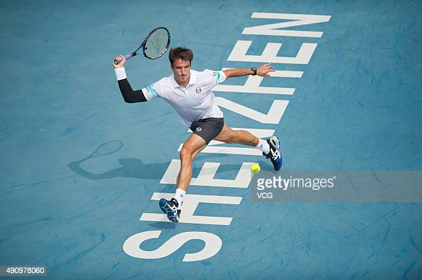 Tommy Robredo of Spain returns a shot against Simone Bolelli of Spain in their quarterfinal match during day five of the 2015 Shenzhen Open ATP World...