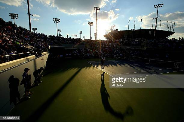Tommy Robredo of Spain serves against Simone Bolelli of Italy during their men's singles second round match on Day Four of the 2014 US Open at the...