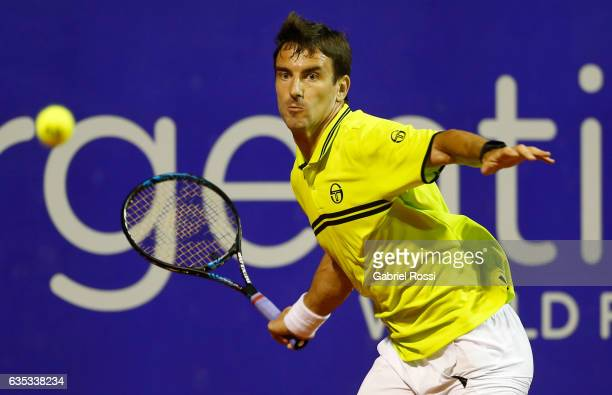 Tommy Robredo of Spain takes a forehand shot during a first round match between Tommy Robredo of Spain and Fabio Fognini of Italy as part of ATP...