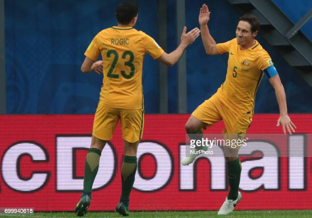 Tommy Rogic and Mark Milliganof the Australia national football team celebrates after scoring a goal during the 2017 FIFA Confederations Cup match...