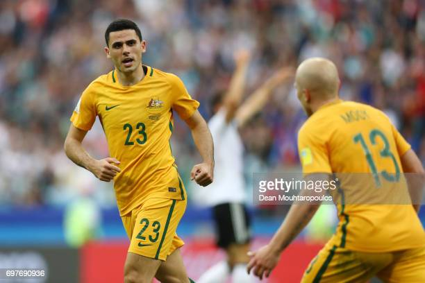 Tommy Rogic of Australia celebrates scoring his sides first goal during the FIFA Confederations Cup Russia 2017 Group B match between Australia and...