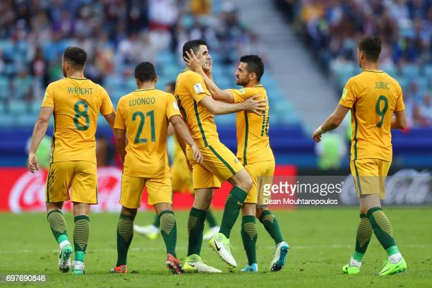 Tommy Rogic of Australia celebrates scoring his sides first goal with his Australia team mates during the FIFA Confederations Cup Russia 2017 Group B...