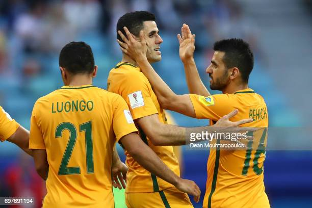 Tommy Rogic of Australia celebrates scoring his sides first goal with Aziz Behich of Australia during the FIFA Confederations Cup Russia 2017 Group B...