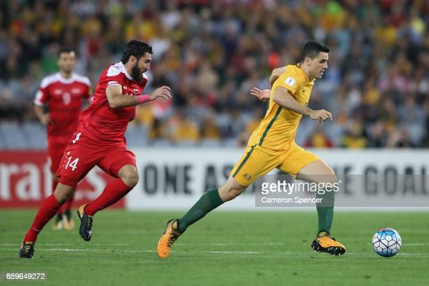Tommy Rogic of Australia dribbles the ball during the 2018 FIFA World Cup Asian Playoff match between the Australian Socceroos and Syria at ANZ...