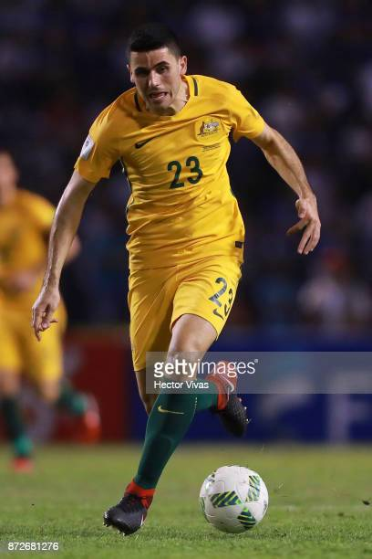 Tommy Rogic of Australia drives the ball during a first leg match between Honduras and Australia as part of FIFA World Cup Qualifiers Play Off at...