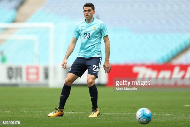 Tommy Rogic of Australia in action during an Australia Socceroos training session at ANZ Stadium on October 9 2017 in Sydney Australia