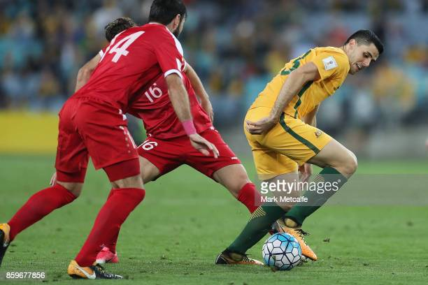 Tommy Rogic of Australia in action during the 2018 FIFA World Cup Asian Playoff match between the Australian Socceroos and Syria at ANZ Stadium on...