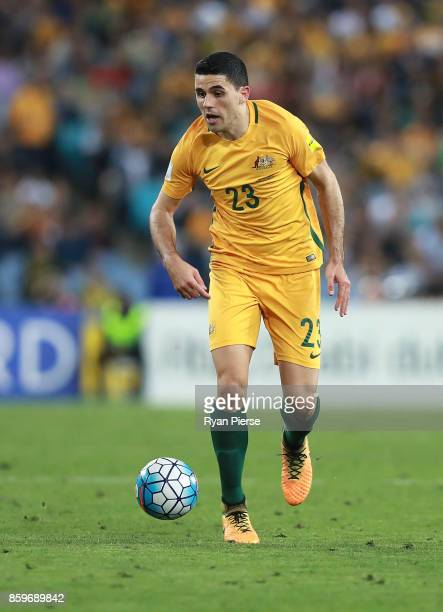 Tommy Rogic of Australia looks upfield during the 2018 FIFA World Cup Asian Playoff match between the Australian Socceroos and Syria at ANZ Stadium...
