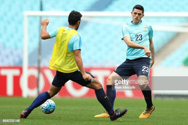 Tommy Rogic of Australia passes during an Australia Socceroos training session at ANZ Stadium on October 9 2017 in Sydney Australia