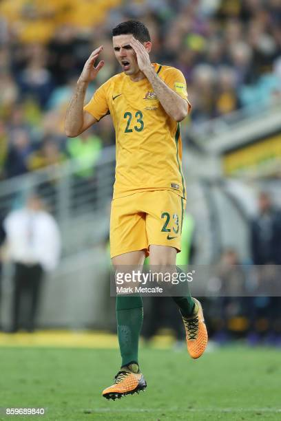 Tommy Rogic of Australia reacts after a shot at goal during the 2018 FIFA World Cup Asian Playoff match between the Australian Socceroos and Syria at...