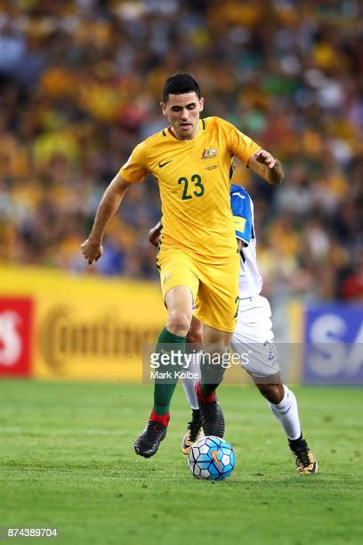 Tommy Rogic of Australia runs the ball forward during the 2018 FIFA World Cup Qualifiers Leg 2 match between the Australian Socceroos and Honduras at...
