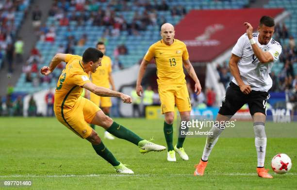 Tommy Rogic of Australia shoots during the FIFA Confederations Cup Russia 2017 Group B match between Australia and Germany at Fisht Olympic Stadium...