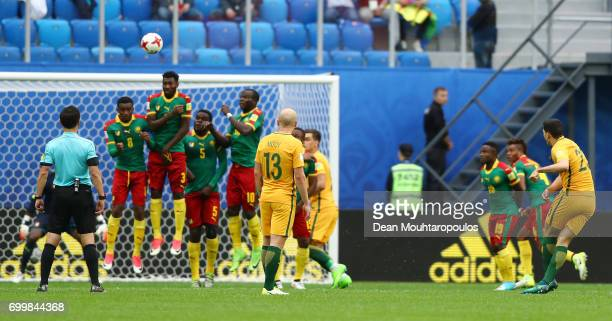 Tommy Rogic of Australia takes a freekick during the FIFA Confederations Cup Russia 2017 Group B match between Cameroon and Australia at Saint...