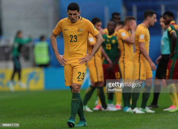 Tommy Rogic of the Australia national football team reacts during the 2017 FIFA Confederations Cup match first stage Group B between Cameroon and...