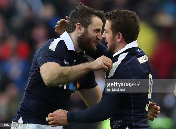 Tommy Seymour congratulate Greig Laidlaw of Scotland at full time during the RBS 6 Nations match between Scotland and Ireland at Murrayfield Stadium...