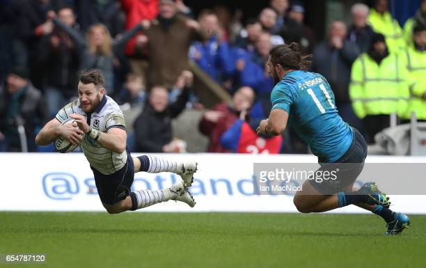 Tommy Seymour of Scotland scores his teams fourth try during the RBS Six Nations Championship match between Scotland and Italy at Murrayfield Stadium...
