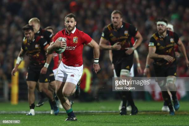 Tommy Seymour of the Lions makes a break during the 2017 British Irish Lions tour match between the Chiefs and the British Irish Lions at the Waikato...