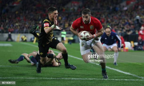 Tommy Seymour of the Lions scores his second try during the match between the Hurricanes and the British Irish Lions at Westpac Stadium on June 27...