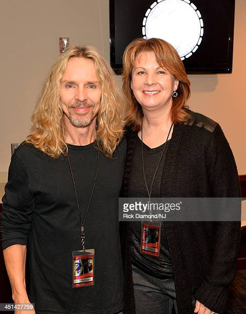 Tommy Shaw and Patty Loveless pose backstage during rehearsals for Playin' Possum The Final No Show Tribute To George Jones at Bridgestone Arena on...