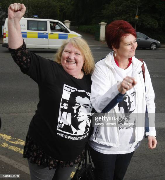 Tommy Sheridan supporters Joyce Drummond and Irene Lang at Govan Police Station in Glasgow Scotland after David Cameron's former communications chief...