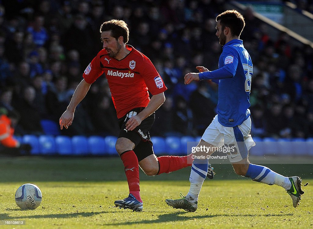 Tommy Smith of Cardiff City attacks during the npower Championship match between Peterborough United and Cardiff City at London Road on March 30, 2013 in Peterborough, England,