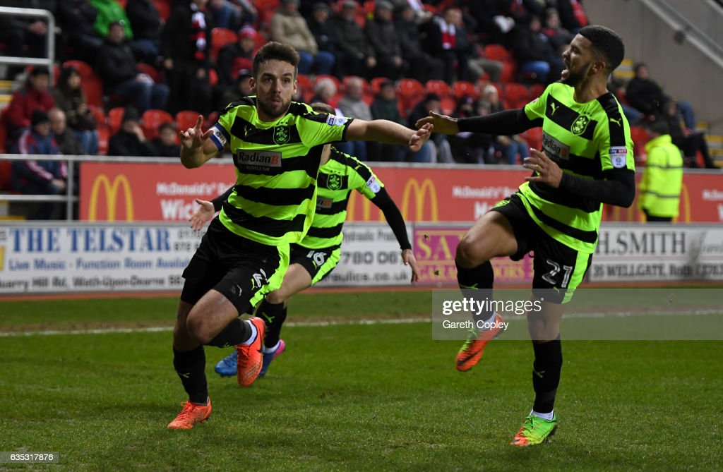 Tommy Smith of Huddersfield celebrates scoring the winner during the Sky Bet Championship match between Rotherham United and Huddersfield Town at The New York Stadium on February 14, 2017 in Rotherham, England.