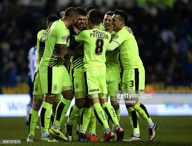 Tommy Smith of Huddersfield celebrates with team mates after scoring his team's second goal of the game during The Emirates FA Cup Second Round match...