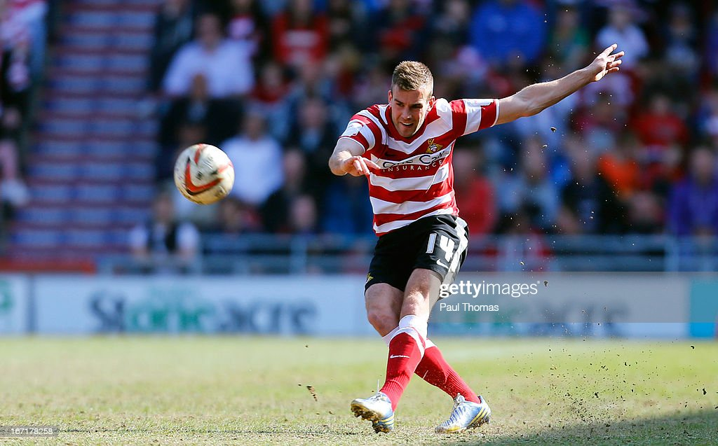 Tommy Spurr of Doncaster in action during the npower League One match between Doncaster Rovers and Notts County at the Keepmoat Stadium on April 20, 2013 in Doncaster, England.