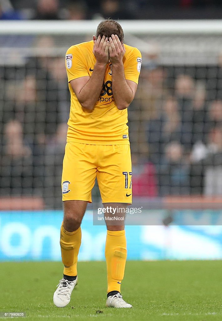 Tommy Spurr of Preston North End reacts to the full tiime whistle being blown during the EFL Cup fourth round match between Newcastle United and Preston North End at St James' Park on October 25, 2016 in Newcastle upon Tyne, England.