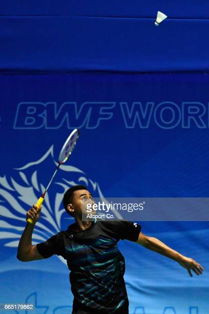 Tommy Sugiarto of Indonesia in action in the men's singles during round two of the 2017 World BWF Super Series Malaysia Open at the Perpaduan Stadium...