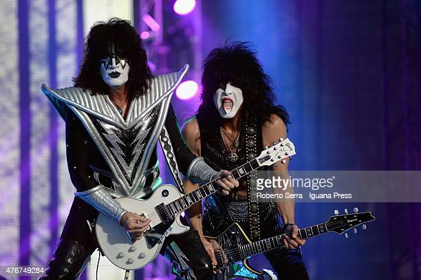 Tommy Thayer and Paul Stanley performs the Kiss concert at Arena di Verona on June 11 2015 in Verona Italy