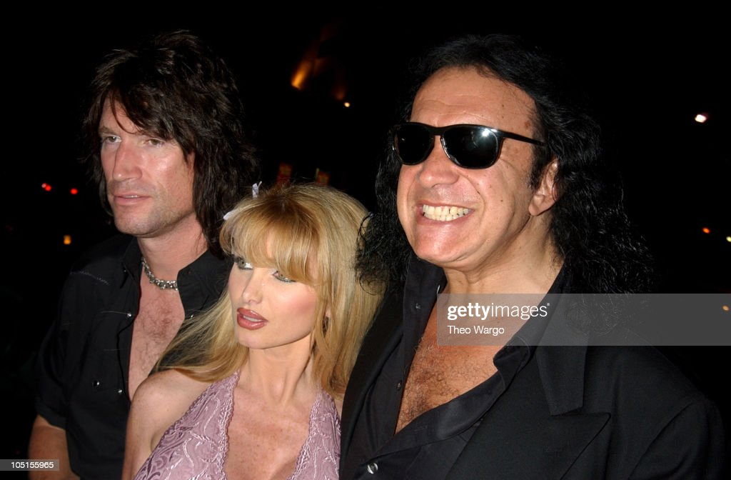 gene simmons son tongue. tommy thayer, model taylor wane, and gene simmons during tongue magazine summer issue launch son