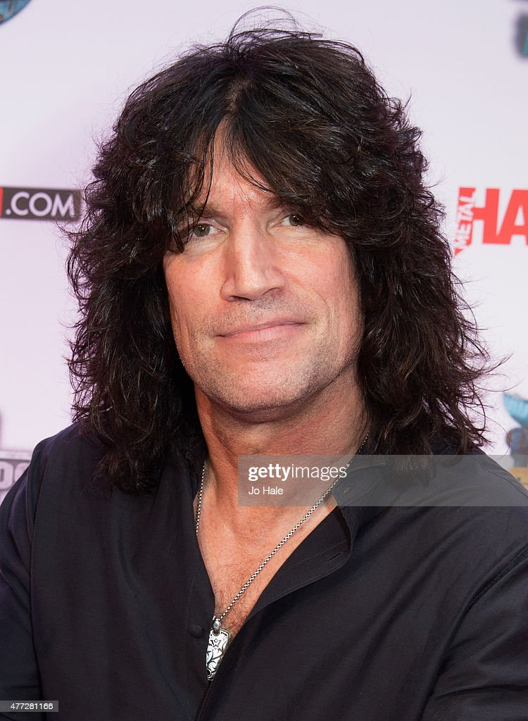 Tommy Thayer of Kiss wins the Defenders of the Faith Award at the Metal Hammer Golden God Awards at Indigo2 at The O2 Arena on June 15, 2015 in London, United Kingdom