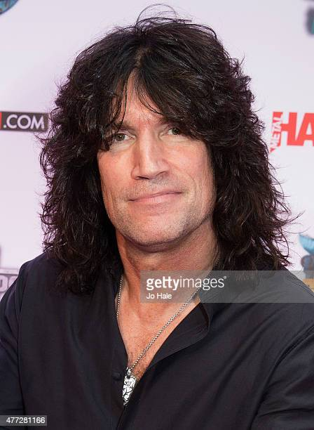 Tommy Thayer of Kiss wins the Defenders of the Faith Award at the Metal Hammer Golden God Awards at Indigo2 at The O2 Arena on June 15 2015 in London...