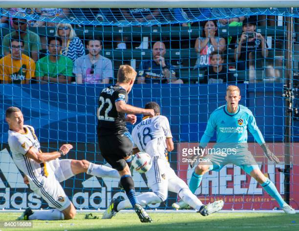 Tommy Thompson of San Jose Earthquakes takes a shot on goal and Daniel Steres of Los Angeles Galaxy blocks the shot during the Los Angeles Galaxy's...