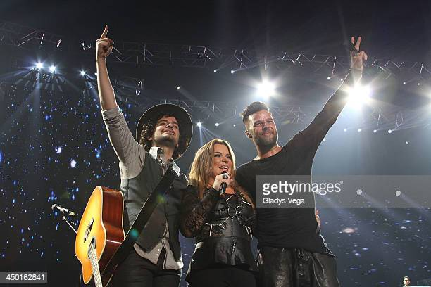 Tommy Torres Ednita Nazario and Ricky Martin perform on KQ Live Concert at Coliseo de Puerto Rico on November 16 2013 in Hato Rey Puerto Rico