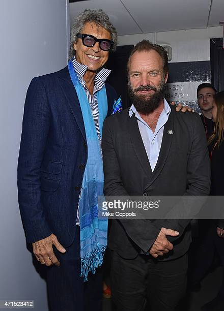 Tommy Tune and Sting attend the 2015 Tony Awards Meet The Nominees Press Reception at the Paramount Hotel on April 29 2015 in New York City