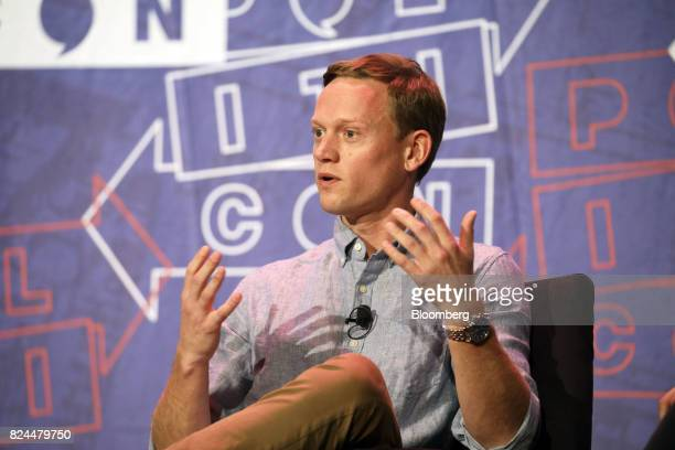 Tommy Vietor former spokesperson for the US National Security Council speaks during the Politicon convention inside the Pasadena Convention Center in...