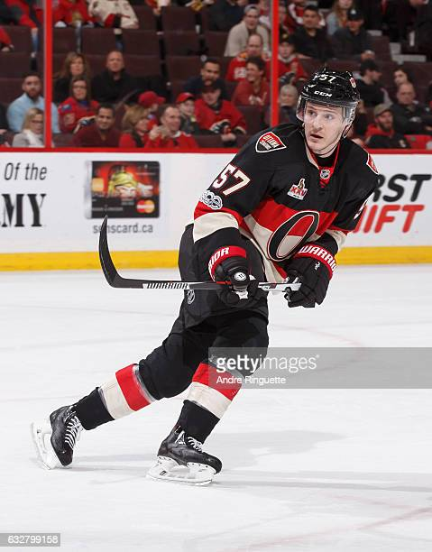 Tommy Wingels of the Ottawa Senators skates against the Calgary Flames in his first game with his new team after being traded at Canadian Tire Centre...