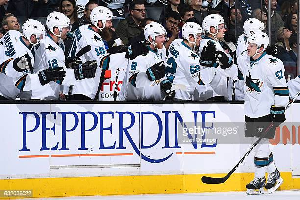 Tommy Wingels of the San Jose Sharks celebrates his first period goal with his teammates during the game against the Los Angeles Kings on January 18...