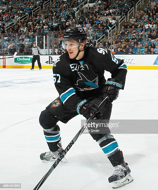 Tommy Wingels of the San Jose Sharks handles the puck against the Los Angeles Kings in Game Five of the First Round of the 2014 Stanley Cup Playoffs...
