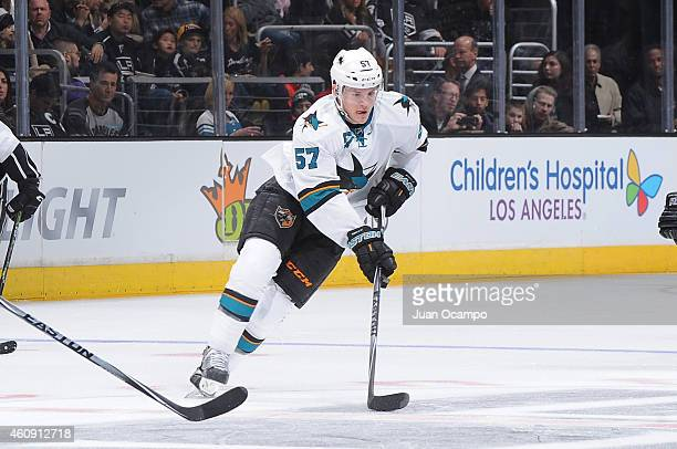 Tommy Wingels of the San Jose Sharks handles the puck during a game against the Los Angeles Kings at STAPLES Center on December 27 2014 in Los...