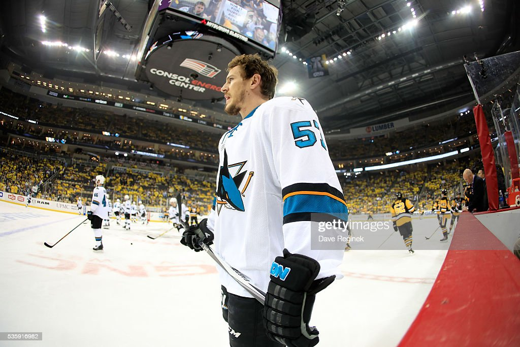 <a gi-track='captionPersonalityLinkClicked' href=/galleries/search?phrase=Tommy+Wingels&family=editorial&specificpeople=5807738 ng-click='$event.stopPropagation()'>Tommy Wingels</a> #57 of the San Jose Sharks looks on during warm-up prior to Game One of the 2016 NHL Stanley Cup Final against the Pittsburgh Penguins at Consol Energy Center on May 30, 2016 in Pittsburgh, Pennsylvania.