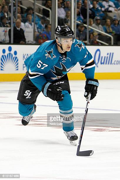 Tommy Wingels of the San Jose Sharks skates across the ice during the NHL season opener game against the Los Angeles Kings at SAP Center at San Jose...