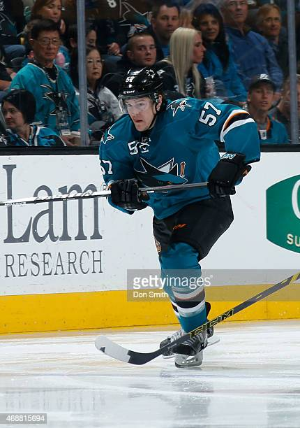 Tommy Wingels of the San Jose Sharks skates after the puck against the Arizona Coyotes at the SAP Center on April 3 2015 in San Jose California