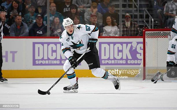 Tommy Wingels of the San Jose Sharks skates against the Colorado Avalanche at the Pepsi Center on November 1 2015 in Denver Colorado The Sharks...